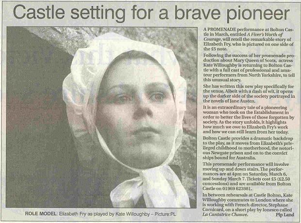 "Darlington & Stockton Times article ""Castle setting for a brave pioneer'"