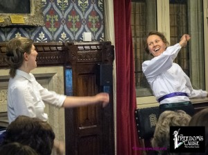 Colour image of Kate Willoughby (Emily Davison) and Kyra Williams (Mary Leigh), House of Commons, 2014.